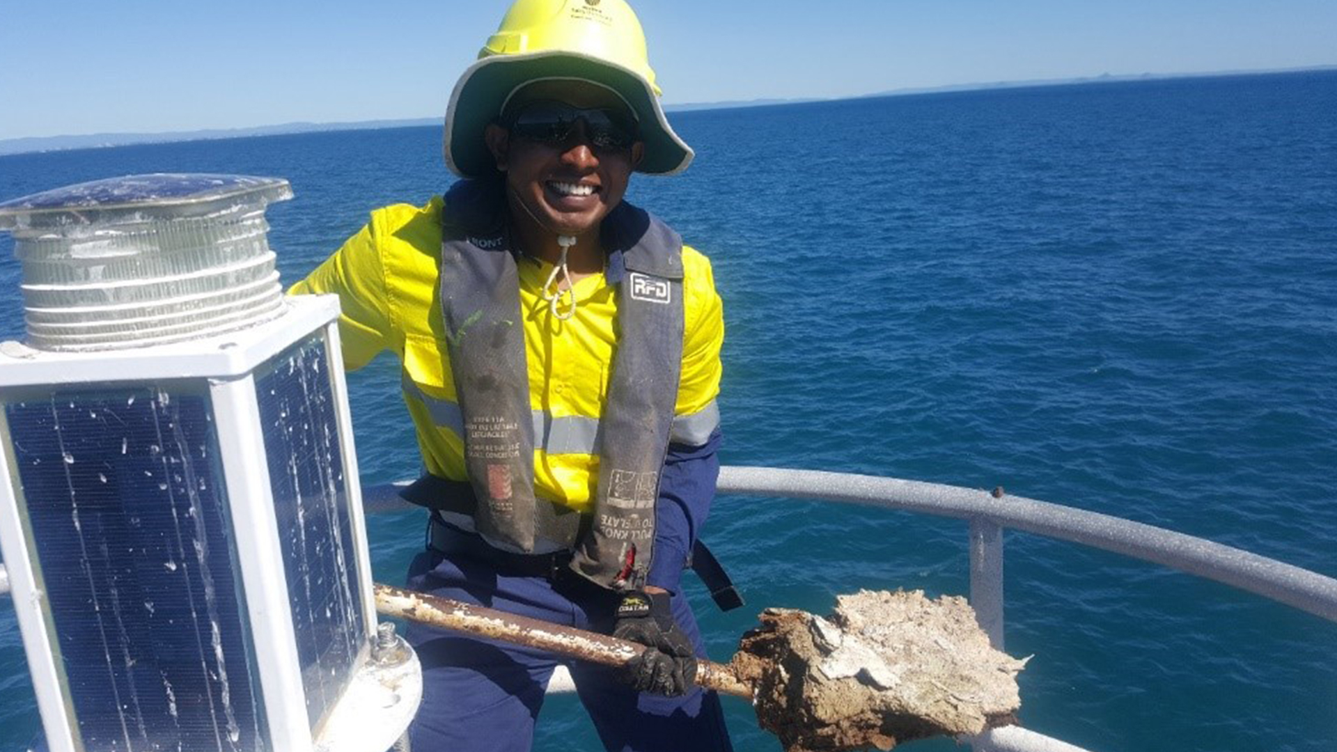 Prathee enjoying work on a structure in Main Channel, Moreton Bay, during his time with MSQ