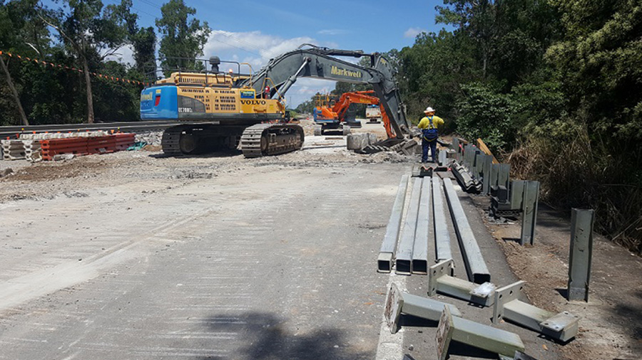 Existing decking being removed from the Arnot Creek bridge